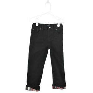 The Children's Place Black Jeans With Plaid Cuff